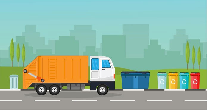 Image of truck collecting bin waste